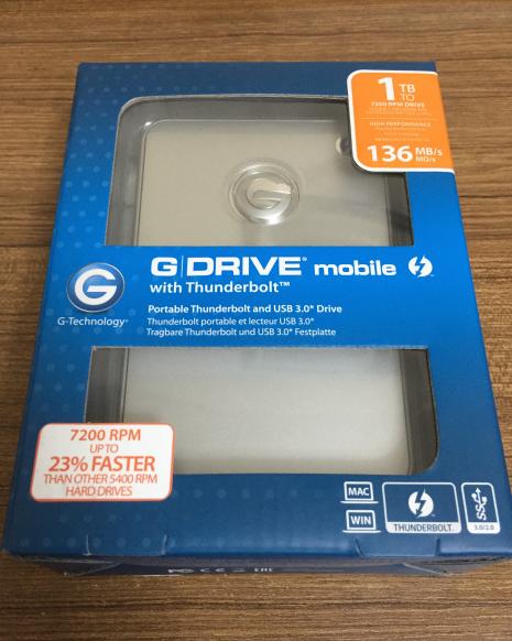 G-Drive Mobile w/ Thunderbolt Kutusu